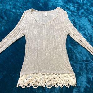 Lace Trim Long-Sleeve Shirt